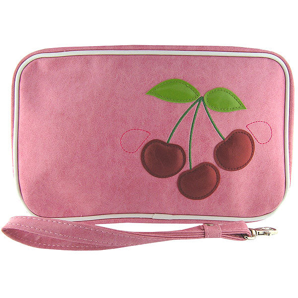 Shop vegan brand LAVISHY's cherry applique vegan/faux leather makeup pouch/toiletry bag. Wholesale available at http://www.lavishy.com/lookbook/lavishy-adora-collection-look-book.htm