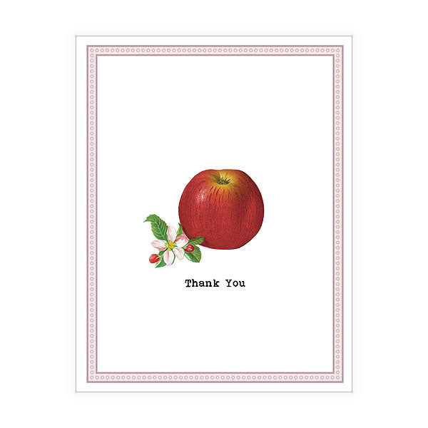 Shop LAVISHY Eco-friendly Apple thank you greeting card from Sarah collection by PETA approved vegan brand LAVISHY. A great gift for your co-workers, friends and family whoever you want to send a thank you note. Wholesale available at www.lavishy.com to social stationary stores, gift shops and boutiques worldwide.