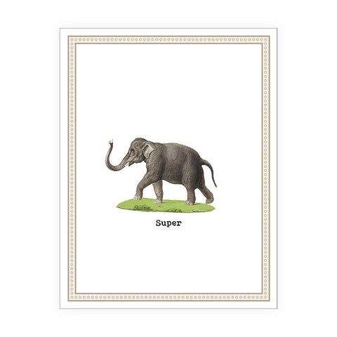 Shop LAVISHY Eco-friendly super Elephant greeting card from Sarah collection by PETA approved vegan brand LAVISHY. A great gift for your co-workers, friends and family especially for the father's day. Wholesale available at www.lavishy.com to social stationary stores, gift shops and boutiques worldwide.
