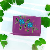 Shop LAVISHY carnation flower embroidered small tri-fold wallet for women