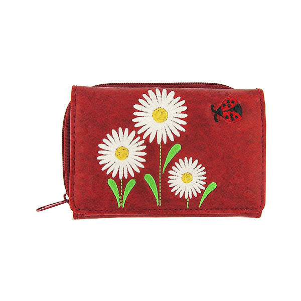 Online shopping for vegan brand LAVISHY's Eco-friendly, ethically made, cruelty free small tri-fold embroidered wallet for women features delightful daisy flower & ladybug embroidery motif. Wholesale at www.lavishy.com for retailers like gift shop, clothing & fashion accessories boutique & book store worldwide since 2001.