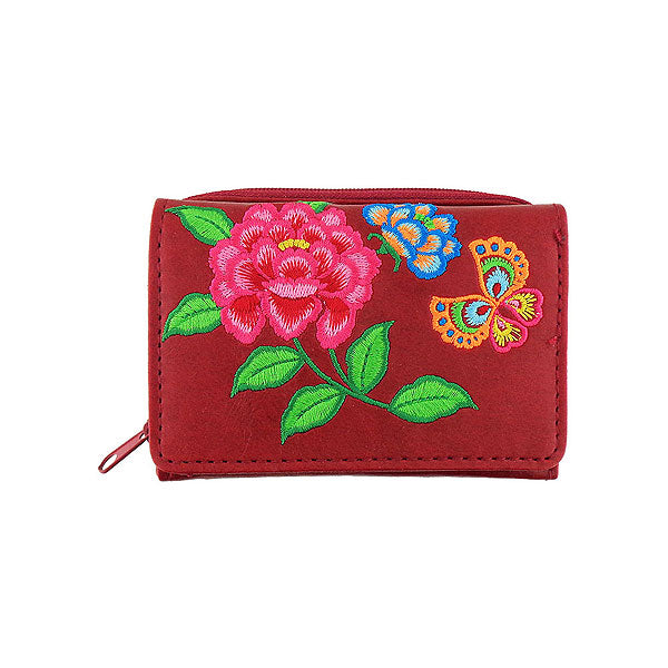 Designed by vegan brand LAVISHY, this Eco-friendly, ethically made, cruelty free small tri-fold wallet for women features delightful embroidery motif of peony & butterfly. Wholesale available at www.lavishy.com along with other unique & fun vegan fashion accessories for retailers like gift shop & boutique.