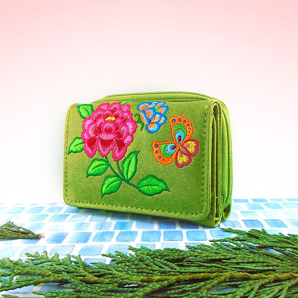 Designed by vegan brand LAVISHY, this Eco-friendly, ethically made, cruelty free small tri-fold wallet for women with peony & butterfly embroidery motif. More vegan fashion accessories for wholesale at www.lavishy.com to gift shop, fashion accessories & clothing boutique in Canada, USA & worldwide.