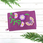 Online shopping for vegan brand LAVISHY's Eco-friendly, ethically made, cruelty free small tri-fold embroidered wallet for women features delightful flower & butterfly embroidery motif. Wholesale at www.lavishy.com for retailers like gift shop, clothing & fashion accessories boutique & book store worldwide since 2001.