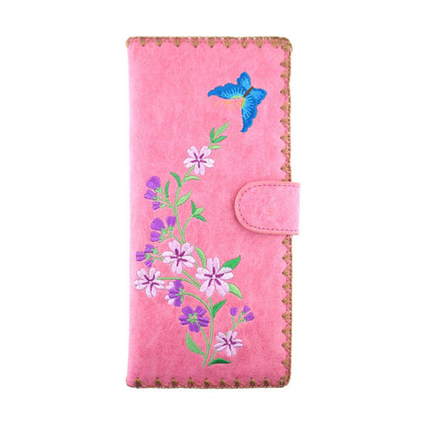 Online shopping for vegan brand LAVISHY's Eco-friendly, ethically made, cruelty free embroidered large flat wallet for women features butterfly & cherry blossom flower embroidery motif. Wholesale at www.lavishy.com for retailers like gift shop, clothing & fashion accessories boutique & book store worldwide since 2001.