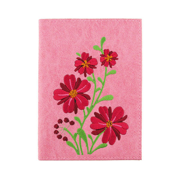 97-1104: Flower embroidered vegan passport cover