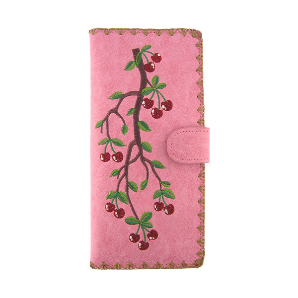 Online shopping for vegan brand LAVISHY's Eco-friendly, ethically made, cruelty free embroidered large flat wallet for women features cherry embroidery motif. Wholesale at www.lavishy.com for retailers like gift shop, clothing & fashion accessories boutique & book store worldwide since 2001.