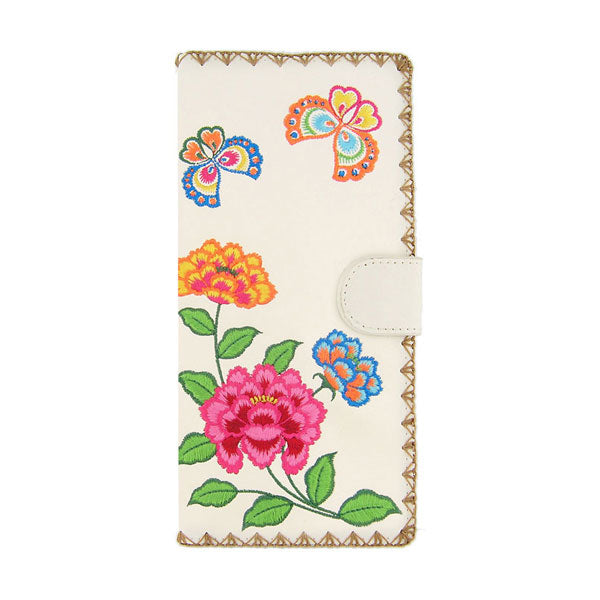 Online shopping for vegan brand LAVISHY's Eco-friendly, ethically made, cruelty free embroidered large flat wallet for women features colorful butterfly & PEONY flower embroidery motif. Wholesale at www.lavishy.com for retailers like gift shop, clothing & fashion accessories boutique & book store worldwide since 2001.
