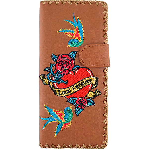 Online shopping for vegan brand LAVISHY's Eco-friendly, ethically made, cruelty free embroidered large flat wallet for women features tattoo style love birds & rose flower embroidery motif. Wholesale at www.lavishy.com for retailers like gift shop, clothing & fashion accessories boutique & book store worldwide since 2001.