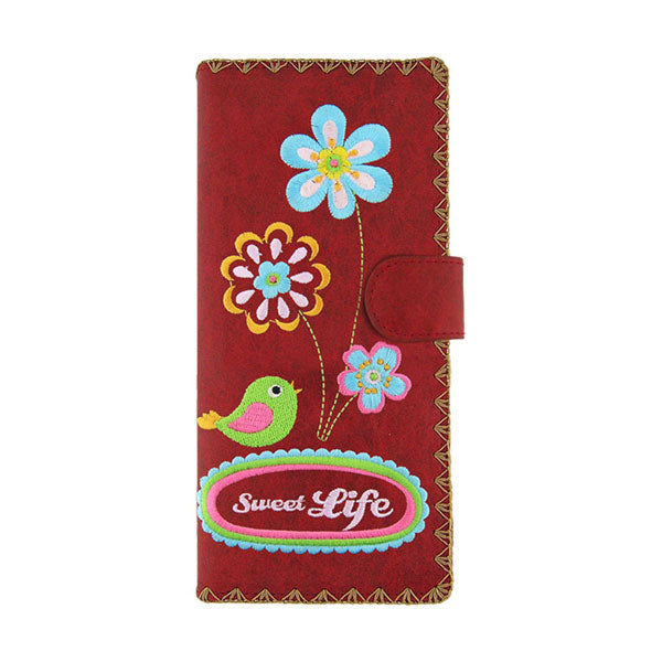 Online shopping for vegan brand LAVISHY's Eco-friendly, ethically made, cruelty free embroidered large flat wallet for women features sweet life flower & bird embroidery motif. Wholesale at www.lavishy.com for retailers like gift shop, clothing & fashion accessories boutique & book store worldwide since 2001.
