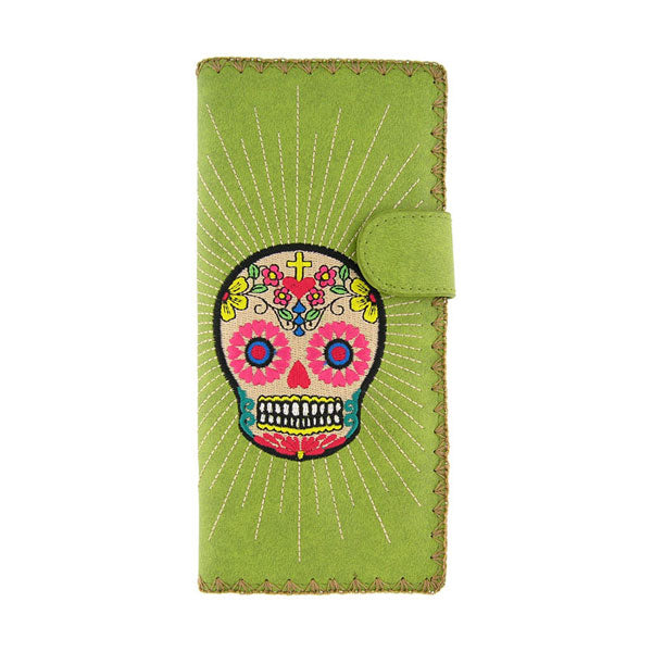 Online shopping for vegan brand LAVISHY's Eco-friendly, ethically made, cruelty free embroidered large flat wallet for women features Mexican day of the dead sugar skull inspired skull embroidery motif. Wholesale at www.lavishy.com for gift shop, clothing & fashion accessories boutique & book store worldwide since 2001.