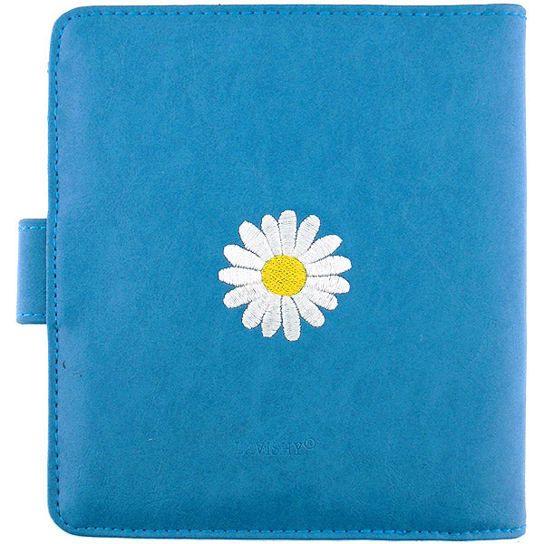 Online shopping for vegan brand LAVISHY's fun & playful embroidered daisy flower vegan/faux leather passport/travel wallet. It's a great gift idea for you or your friends & family. Wholesale available at www.lavishy.com with many unique & fun fashion accessories.