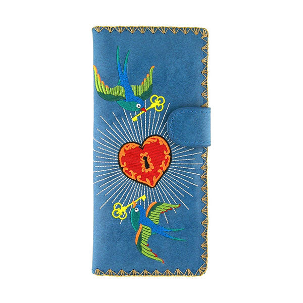 Online shopping for vegan brand LAVISHY's Eco-friendly, ethically made, cruelty free embroidered large flat wallet for women features tattoo style love birds & heart embroidery motif. Wholesale at www.lavishy.com for retailers like gift shop, clothing & fashion accessories boutique & book store worldwide since 2001.