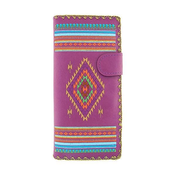 Designed by vegan brand LAVISHY, this Eco-friendly, ethically made, cruelty free large flat wallet for women features delightful embroidery motif of tribal pattern. Wholesale available at www.lavishy.com along with other unique & fun vegan fashion accessories for retailers like gift shop & boutique.