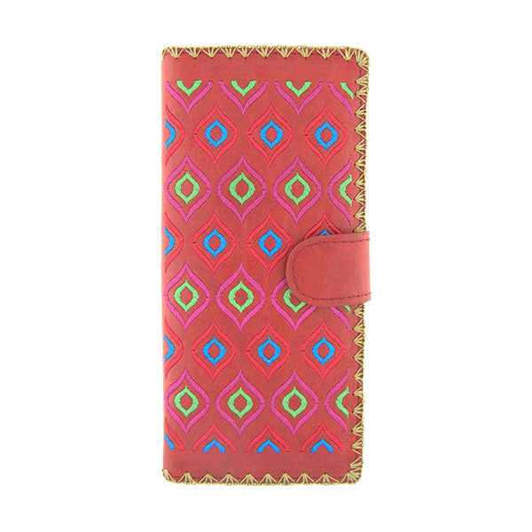 Online shopping for vegan brand LAVISHY's Eco-friendly, ethically made, cruelty free embroidered large flat wallet for women features Ikat pattern embroidery motif. Wholesale at www.lavishy.com for retailers like gift shop, clothing & fashion accessories boutique & book store worldwide since 2001.