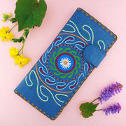 Online shopping for vegan brand LAVISHY's Eco-friendly, ethically made, cruelty free embroidered large flat wallet for women features Indian Suzani embroidery motif. Wholesale at www.lavishy.com for retailers like gift shop, clothing & fashion accessories boutique & book store worldwide since 2001.