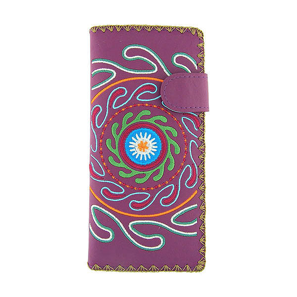Designed by PETA approved vegan brand LAVISHY, this Eco-friendly, ethically made, cruelty free large flat wallet for women features delightful embroidery motif of Suzani. Wholesale available at www.lavishy.com along with other unique & fun vegan fashion accessories for retailers like gift shop & boutique.