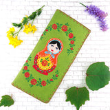 Online shopping for vegan brand LAVISHY's Eco-friendly, ethically made, cruelty free embroidered large flat wallet for women features Matryoshka doll embroidery motif. Wholesale at www.lavishy.com for retailers like gift shop, clothing & fashion accessories boutique & book store worldwide since 2001.