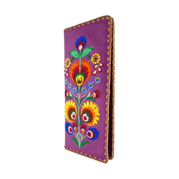 97-181: Bohemian Polish flora embroidered vegan large flat wallet