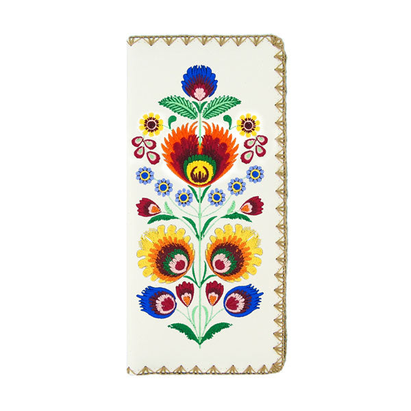 Online shopping for vegan brand LAVISHY's Eco-friendly, ethically made, cruelty free Bohemian flora embroidered large flat wallet for women. Wholesale at www.lavishy.com for retailers like gift shop, clothing & fashion accessories boutique & book store worldwide since 2001.