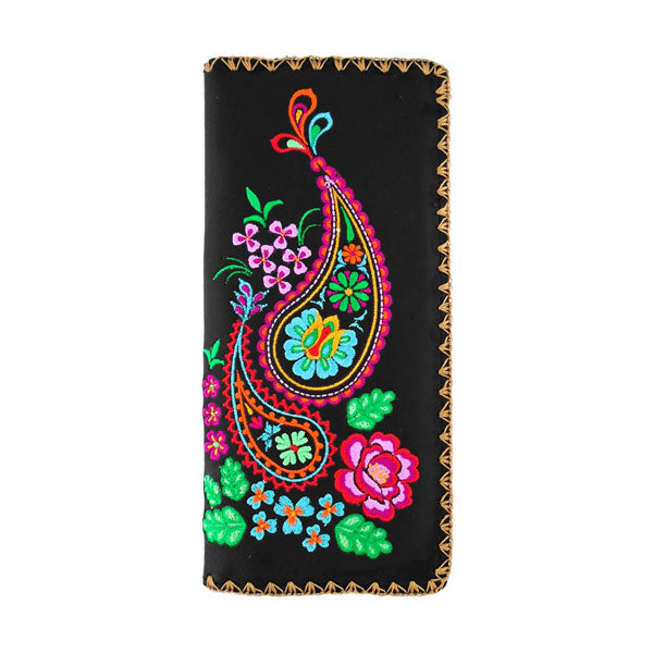 97-182: Paisley embroidered vegan large flat wallet