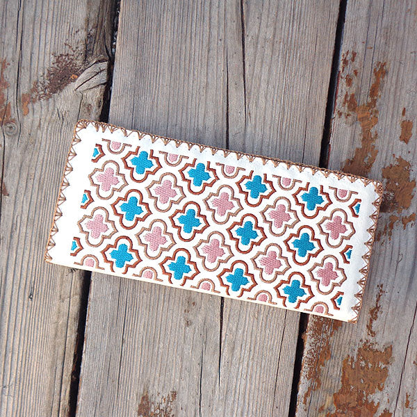 Designed by PETA approved vegan brand LAVISHY, this Eco-friendly, ethically made, cruelty free large flat wallet for women features delightful embroidery motif of Moroccan pattern. Wholesale available at www.lavishy.com along with other unique & fun vegan fashion accessories for retailers like gift shop & boutique.