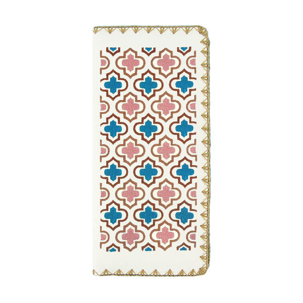 Online shopping for vegan brand LAVISHY's Eco-friendly, ethically made, cruelty free embroidered large flat wallet for women features Moroccan pattern embroidery motif. Wholesale at www.lavishy.com for retailers like gift shop, clothing & fashion accessories boutique & book store worldwide since 2001.