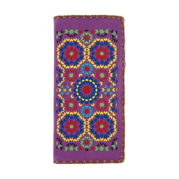 Designed by vegan brand LAVISHY, this Eco-friendly, ethically made, cruelty free large flat wallet for women features delightful embroidery motif of Moroccan pattern. Wholesale available at www.lavishy.com along with other unique & fun vegan fashion accessories for retailers like gift shop & boutique.