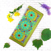 Online shopping for vegan brand LAVISHY's Eco-friendly, ethically made, cruelty free embroidered large flat wallet for women features classic Moroccan pattern embroidery motif. Wholesale at www.lavishy.com for retailers like gift shop, clothing & fashion accessories boutique & book store worldwide since 2001.