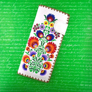 97-195: Bohemian Flower embroidered vegan large flat wallet