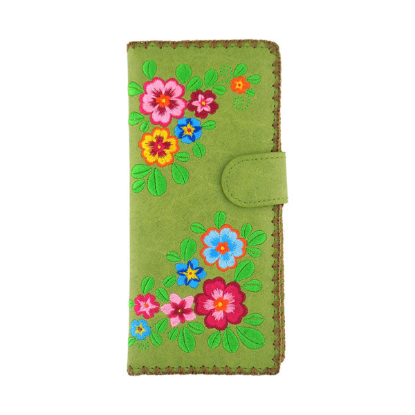 Designed by PETA approved vegan brand LAVISHY, this Eco-friendly, ethically made, cruelty free large flat wallet for women features delightful embroidery motif of flower. Wholesale available at www.lavishy.com along with other unique & fun vegan fashion accessories for retailers like gift shop & boutique.