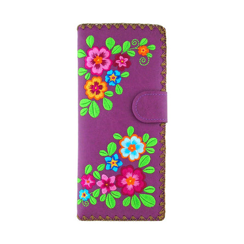 Online shopping for vegan brand LAVISHY's Eco-friendly, ethically made, cruelty free embroidered large flat wallet for women features colorful flower embroidery motif. Wholesale at www.lavishy.com for retailers like gift shop, clothing & fashion accessories boutique & book store worldwide since 2001.