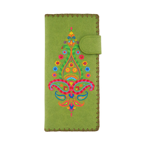 Online shopping for vegan brand LAVISHY's Eco-friendly, ethically made, cruelty free embroidered large flat wallet for women features Indian paisley pattern embroidery motif. Wholesale at www.lavishy.com for retailers like gift shop, clothing & fashion accessories boutique & book store worldwide since 2001.