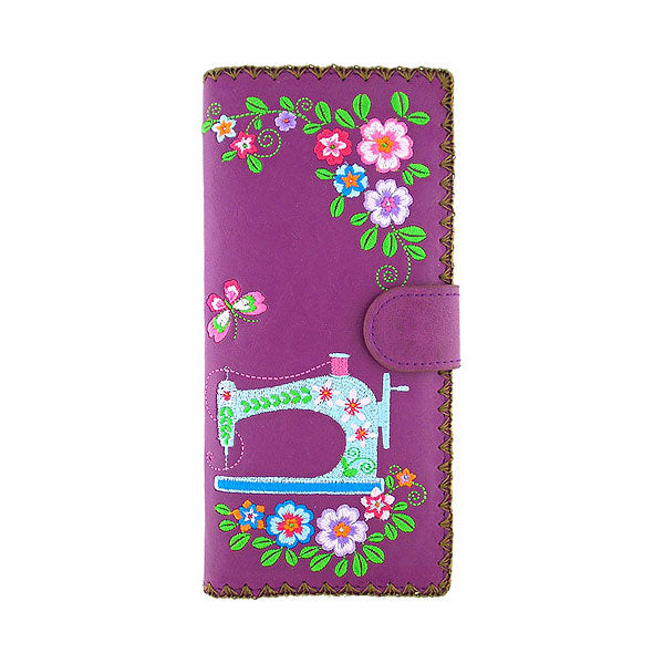 Designed by PETA approved vegan brand LAVISHY, this Eco-friendly, ethically made, cruelty free large flat wallet for women features delightful embroidery & flower motif of sewing machine. Wholesale available at www.lavishy.com along with other unique & fun vegan fashion accessories for retailers like gift shop & boutique.