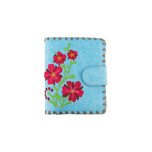Online shopping for vegan brand LAVISHY's Eco-friendly, ethically made, cruelty free rouge flower embroidered vegan medium bifold wallet for women. Wholesale at www.lavishy.com for retailers like gift shop, clothing & fashion accessories boutique, book store worldwide since 2001.