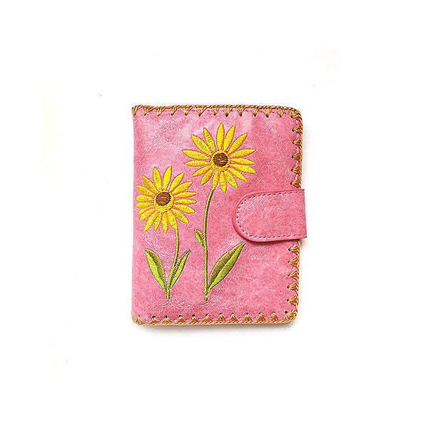 Shop embroidered cherry vegan medium bi-fold wallet for women by PETA approved vegan brand LAVISHY, this Eco-friendly, ethically made, cruelty free wallet is also available for wholesale at www.lavishy.com with many other unique & fun vegan fashion accessories for gift shop, boutique & corporate buyers.