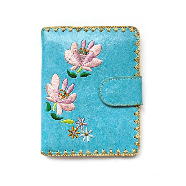 Online shopping for vegan brand LAVISHY's Eco-friendly, ethically made, cruelty free catharanthus flower embroidered vegan medium wallet for women. Wholesale at www.lavishy.com for retailers like gift shop, clothing & fashion accessories boutique, book store worldwide since 2001.