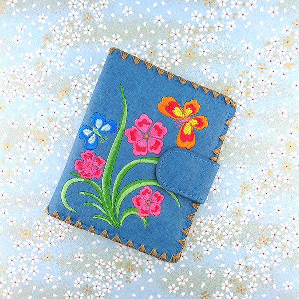 Online shopping for vegan brand LAVISHY's Eco-friendly, ethically made, cruelty free flower & butterfly embroidered vegan medium wallet for women. Wholesale at www.lavishy.com for retailers like gift shop, clothing & fashion accessories boutique, book store worldwide since 2001.