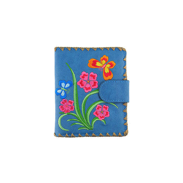 Shop embroidered flower & butterfly vegan medium wallet for women by vegan brand LAVISHY, this Eco-friendly, ethically made, cruelty free wallet features lovely embroidery motif & framed with decorative stitches around the edge. Wholesale available at www.lavishy.com with unique & fun vegan fashion accessories for gift shop, boutique & corporate buyers.