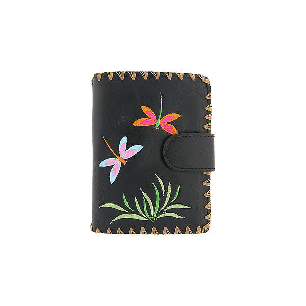 97-202: Embroidered medium wallet-love dragonfly