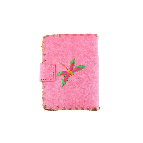 Online shopping for vegan brand LAVISHY's Eco-friendly, ethically made, cruelty free love dragonfly embroidered vegan medium wallet for women. Wholesale at www.lavishy.com for retailers like gift shop, clothing & fashion accessories boutique, book store worldwide since 2001.