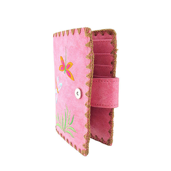 Shop embroidered love dragonfly vegan medium wallet for women by vegan brand LAVISHY. This Eco-friendly, ethically made, cruelty free wallet is also available for wholesale at www.lavishy.com with many other unique & fun vegan fashion accessories for gift shop, boutique & corporate buyers.