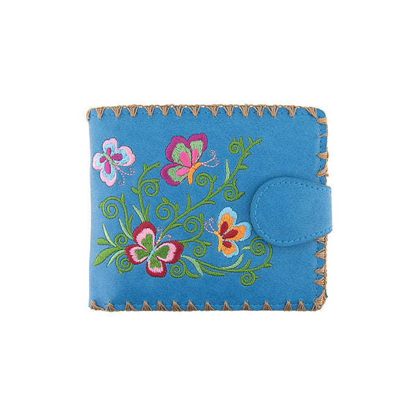 97-212: Butterfly embroidered medium flat wallet