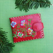Shop embroideredbutterfly vegan medium wallet for women by vegan brand LAVISHY, this Eco-friendly, ethically made, cruelty free wallet's lovely embroidery motif is framed by decorative stitches around the edge. Wholesale at www.lavishy.com with unique fun fashion accessories for gift shop, boutique corporate buyers.