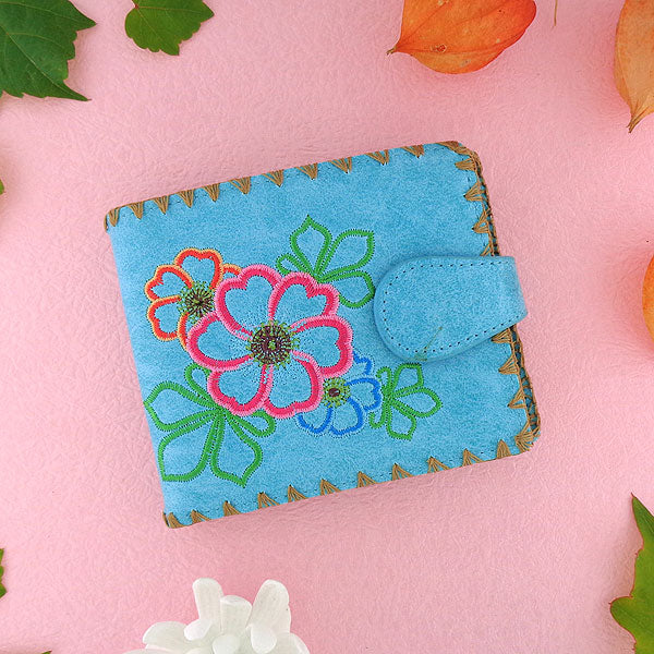 97-213: Embroidered medium wallet-flower