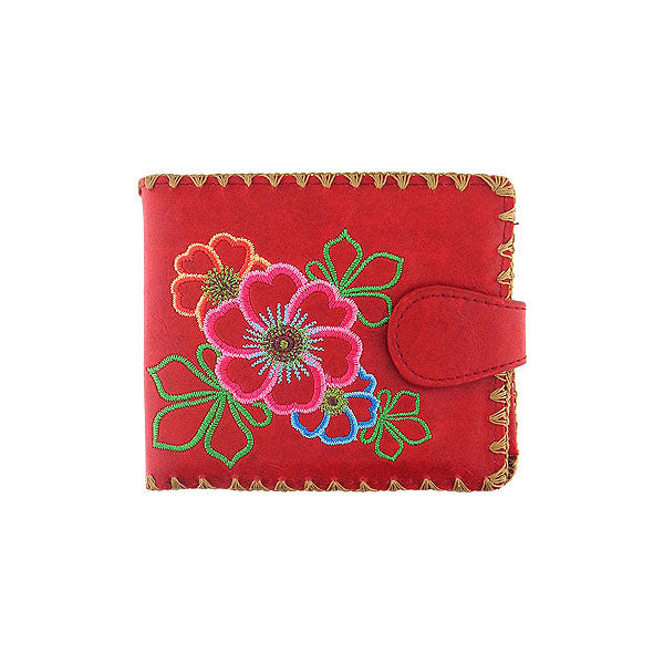 Shop embroidered flower vegan medium wallet for women by vegan brand LAVISHY, this Eco-friendly, ethically made, cruelty free wallet's lovely embroidery motif is framed by decorative stitches around the edge. Wholesale at www.lavishy.com with unique & fun fashion accessories for gift shop, boutique & corporate buyers.