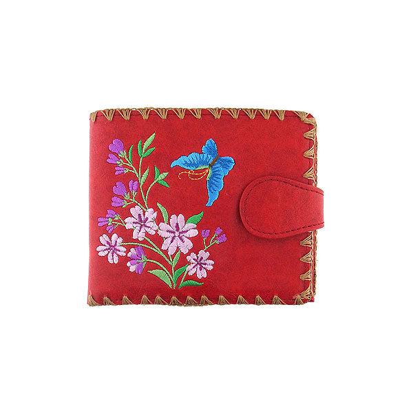 Shop embroidered butterfly & cherry blossom flower vegan medium wallet for women by PETA approved vegan brand LAVISHY, this Eco-friendly, ethically made, cruelty free wallet's lovely embroidery motif is framed by decorative stitches around the edge. Wholesale at www.lavishy.com with unique & fun fashion accessories for gift shop, boutique & corporate buyers.