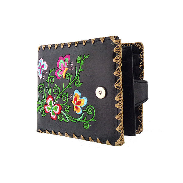 Shop embroidered  butterfly vegan medium wallet for women by vegan brand LAVISHY, this Eco-friendly, ethically made, cruelty free wallet's lovely embroidery motif is framed by decorative stitches around the edge. Wholesale at www.lavishy.com with unique fun fashion accessories for gift shop, boutique corporate buyers.