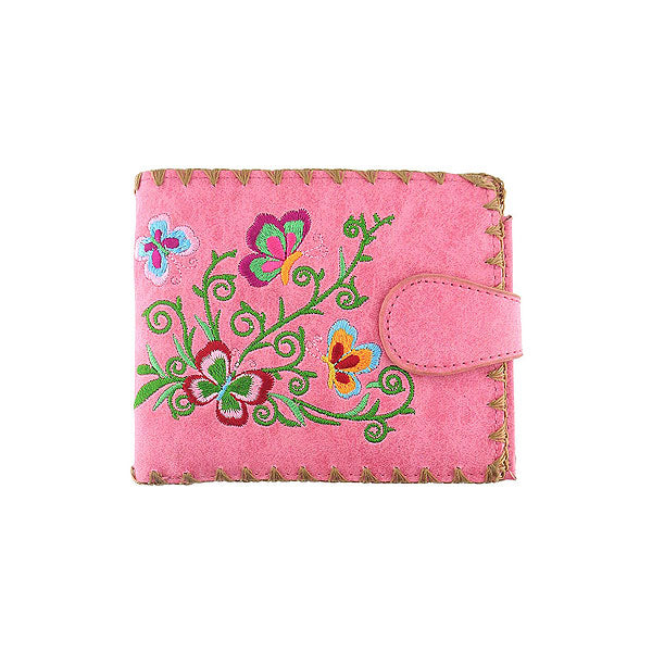 Shop embroidered  butterfly vegan medium wallet for women by PETA approved vegan brand LAVISHY, this Eco-friendly, ethically made, cruelty free wallet's lovely embroidery motif is framed by decorative stitches around the edge. Wholesale at www.lavishy.com with unique fun fashion accessories for gift shop, boutique corporate buyers.
