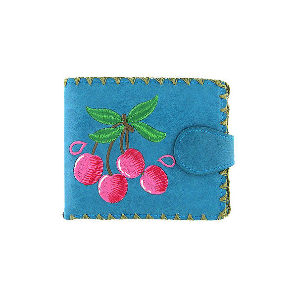 Shop vegan brand LAVISHY's embroidered cherry medium bifold wallet for women that is Eco-friendly, ethically made, cruelty free. Great for everyday use or a gift for your family & friends. Wholesale at www.lavishy.com to gift shops, fashion accessories & clothing boutiques worldwide since 2001.